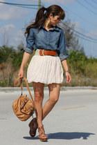 blue Forever 21 shirt - tawny Mimi Boutique bag - cream Forever 21 skirt - gold