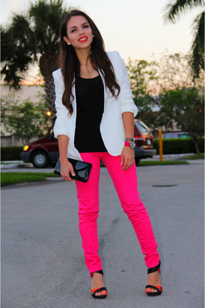 black Zara heels - ivory Zara blazer - hot pink Zara pants