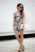 teal floral inlovewithfashion romper - ivory lulus bag