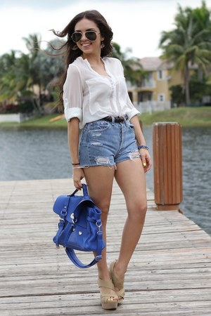 blue Mimi Boutique bag - white OASAP shirt - light blue Urban Outfitters shorts