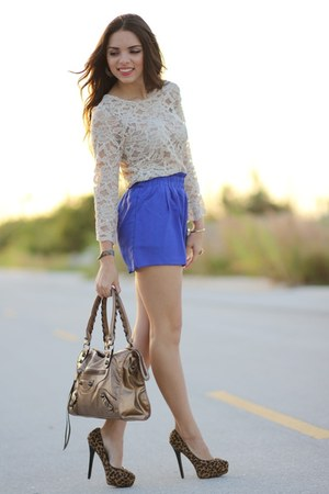 beige Forever 21 blouse - brown Mimi Boutique bag - blue romwe shorts