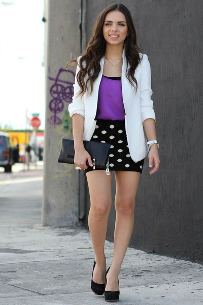 black Batoko skirt - white Zara blazer - amethyst Zara shirt