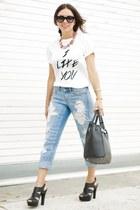 white limtied edition furor moda shirt - sky blue boyfriend dittos jeans