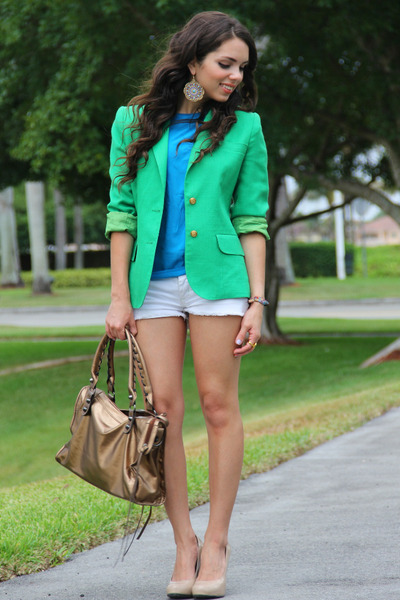 turquoise blue thrifted vintage top - chartreuse thrifted blazer