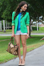 Chartreuse-thrifted-blazer-brown-mimi-boutique-bag-white-forever-21-shorts-