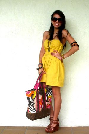 brown Pac Sun bag - brown Steve Madden shoes - gold Forever 21 dress