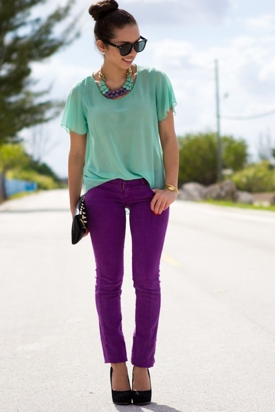 light purple Mimi Boutique necklace - amethyst Forever 21 jeans