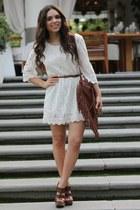 white lace H&M dress - brown fringe Mimi Boutique bag - brown mia shoes heels