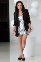 black Steve Madden shoes - silver vintage dress - black Zara blazer - black Aldo