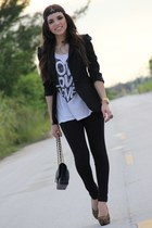 black Express leggings - black classic Zara blazer - black 255 Chanel bag