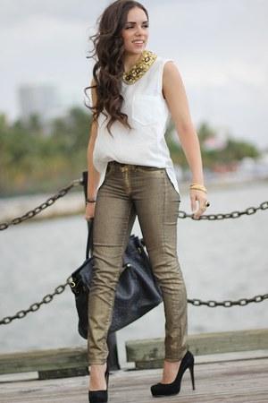 gold romwe necklace - white romwe shirt - black Mimi Boutique bag