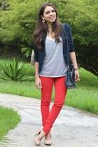 navy Forever 21 blazer - red Zara jeans - ivory stripes Forever 21 shirt