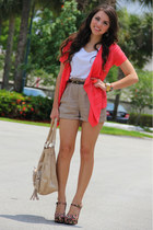 black Forever 21 shoes - tan Mimi Boutique bag - tan Forever 21 shorts - coral F