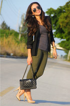 tan Steve Madden shoes - black Zara blazer - black Chanel bag - gold Aldo sungla