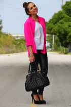 black Mimi Boutique bag - black Steve Madden shoes - hot pink vintage shirt