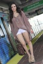 light brown sheer Furor shirt - dark brown Mimi Boutique bag
