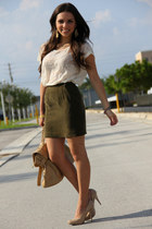 army green vintage skirt - tan Steve Madden shoes - tan Mimi Boutique bag