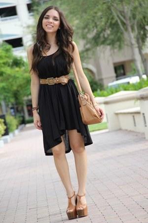 bronze Jessica Simpson shoes - black H&M dress - bronze Mimi Boutique bag