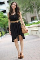 bronze Jessica Simpson shoes - black H&M dress - bronze Mimi Boutique bag