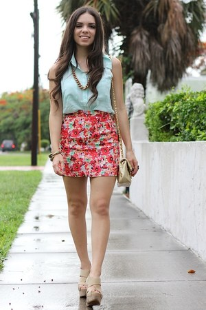 red beginning boutique skirt - tan xiomara lisette shoes