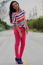 Hot-pink-zara-jeans-hot-pink-zara-shirt-white-express-bag-blue-aldo-heels-