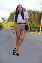 black D&G Vintage shoes - black Chanel bag - tan Forever 21 shorts - white thrif