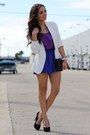 White-zara-blazer-black-mimi-boutique-bag-blue-romwe-shorts