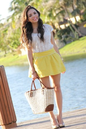 yellow Forever 21 skirt - camel H&M bag - cream Forever 21 top