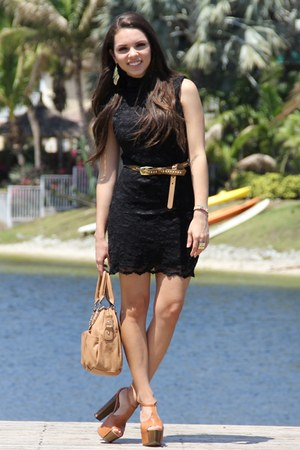 black Forever 21 dress - bronze Mimi Boutique bag - bronze Forever 21 belt - bro