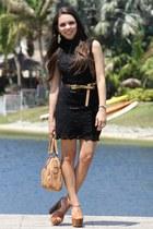 black Forever 21 dress - bronze Mimi Boutique bag - bronze Forever 21 belt - bro