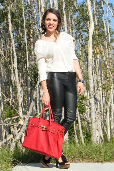 ruby red Mimi Boutique bag - black Forever 21 pants - white Furor top - black St