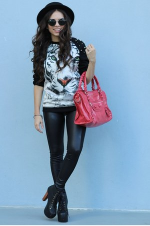 black Forever 21 hat - black Jeffrey Campbell boots - white Choies sweater