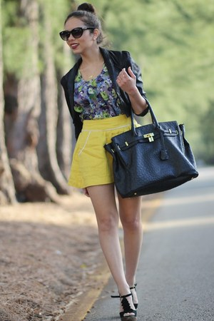 yellow Forever 21 skirt - black Steve Madden shoes - black H&amp;M jacket