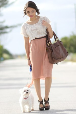 light pink modern and thrifted skirt - brown Forever 21 shoes