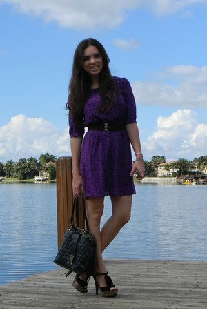 purple Forever 21 dress - black ruffles Steve Madden shoes