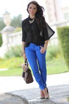 black sheer Forever 21 blouse - blue JC Penney jeans - black leopard Aldo bag