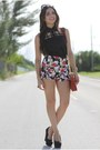 Brick-red-baghaus-bag-ruby-red-floral-romwe-shorts