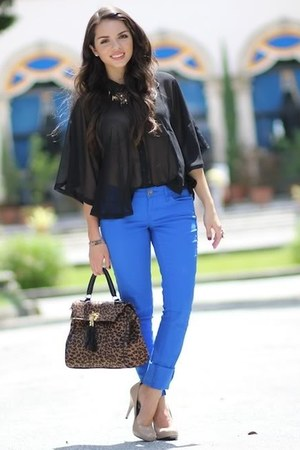 blue JC Penney jeans - dark brown Aldo shoes - black Forever 21 top