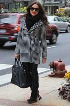 white Missing Johnny coat - black Charlotte Russe boots - black Aldo scarf