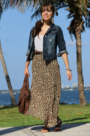 dark brown Forever 21 skirt - navy Forever 21 jacket - brown Mimi Boutique bag