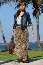 dark brown Forever 21 skirt - navy Forever 21 jacket - brown Mimi Boutique bag