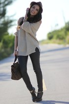 tan knitted causeway mall sweater - black dr marteens shoes