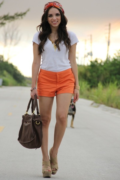 nude xiomara lisette wedges - as turband Forever 21 scarf - Mimi Boutique bag