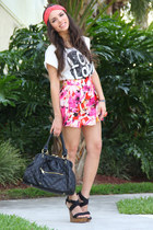 black Mimi Boutique bag - hot pink Forever 21 skirt - black go jane wedges - whi