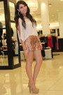 Beige-sleeve-slits-bebe-shirt-bronze-sequins-bebe-shorts-tan-bebe-pumps