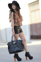 bronze flappy Forever 21 top - black litas Jeffrey Campbell shoes