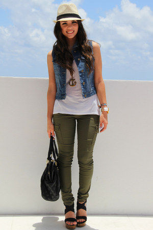 tan Agaci hat - black Mimi Boutique bag - blue Forever 21 vest - black GoJane we