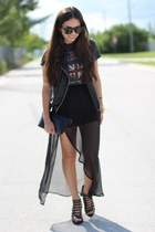 black furor moda skirt - black Forever 21 shoes - charcoal gray Target shirt