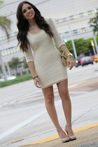 cream lace Forever 21 dress - gold quilted Mimi Boutique bag
