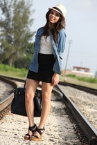 white Express top - blue denim shirt Forever 21 shirt - black Mimi Boutique bag